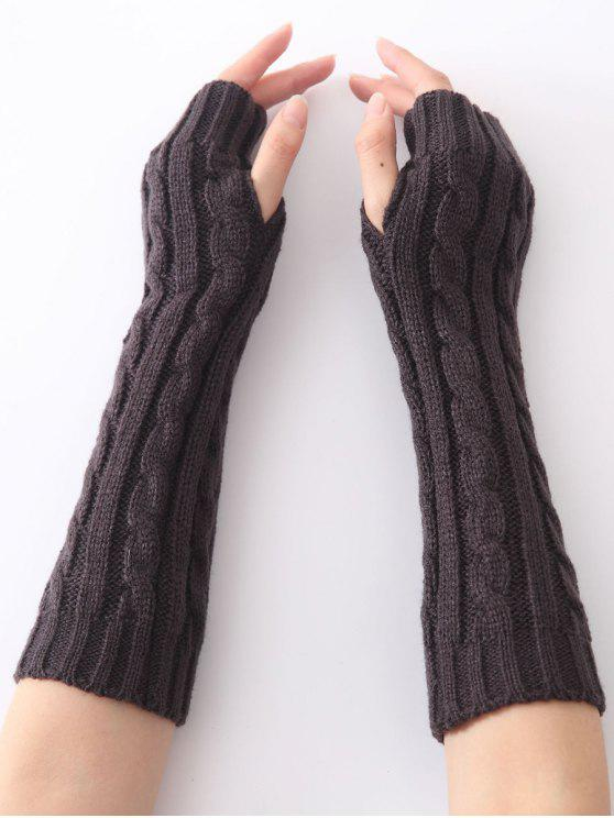 fashion Hemp Decorative Pattern Christmas Keep Warm Crochet Knit Arm Warmers - DEEP GRAY