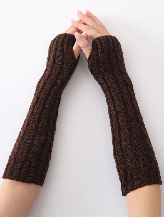Mitaines en tricot a motif chanvre de noël - café