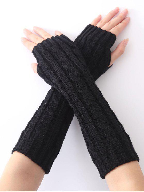 El cáñamo patrón decorativo de Navidad Mantenga los calentadores de punto de ganchillo cálido brazo - Negro