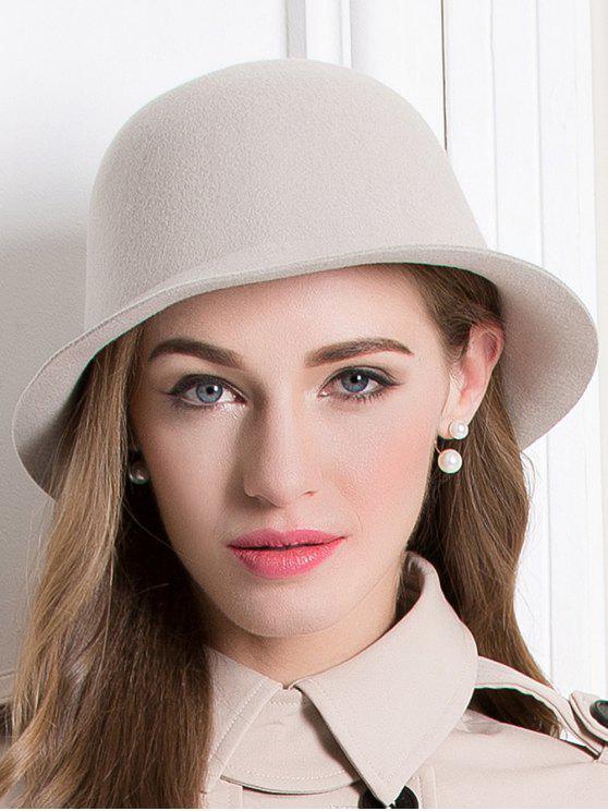Chapeau rond en laine à style couronne - Abricot
