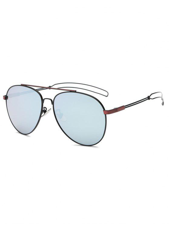 lady Crossbar Hollow Out Leg Pilot Sunglasses - WINE RED