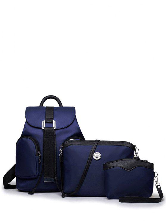 latest Casual Metal Front Pocket Nylon Backpack - CADETBLUE