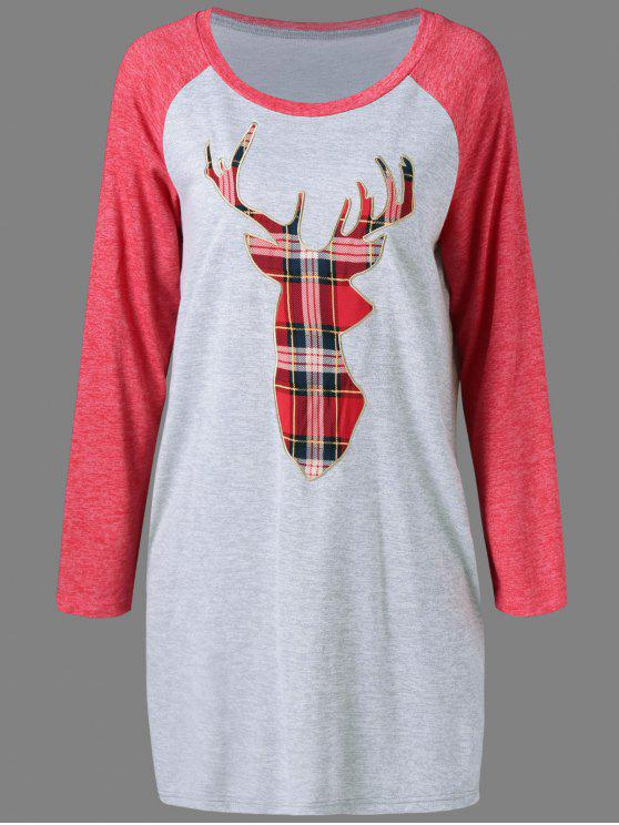 online Plaid Elk Pattern Raglan Sleeves Dress - GRAY AND RED L