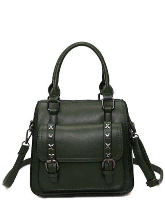 womens Criss-Cross Double Buckles PU Leather Handbag - BLACKISH GREEN