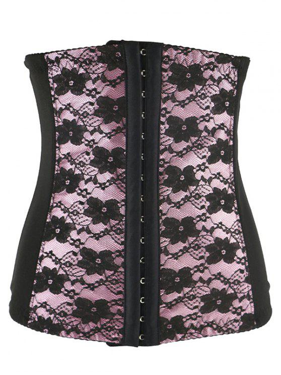 shops Retro Steel Boned Underbust Lace Corset - SHALLOW PINK 4XL