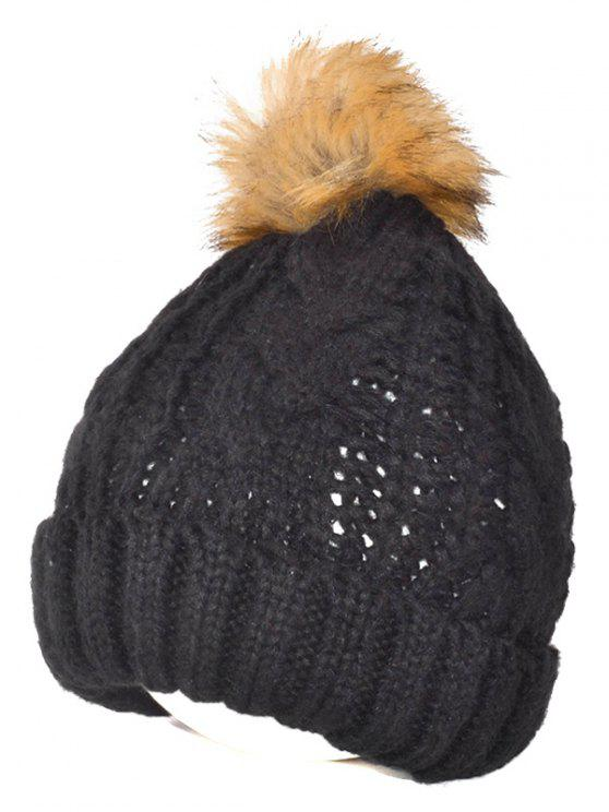 2019 Winter Casual Knitting Beanie Fuzzy Ball Hat In BLACK  ed6270d20ea