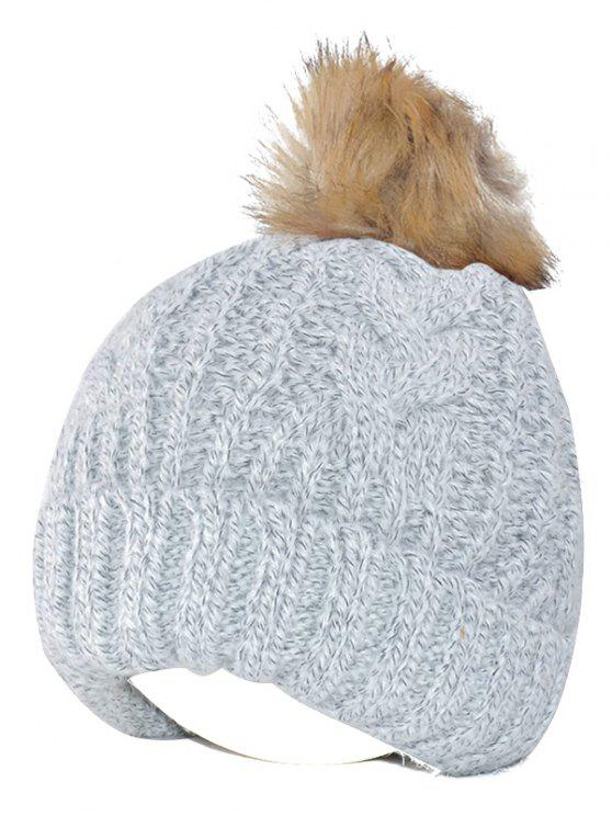 2019 Winter Casual Knitting Beanie Fuzzy Ball Hat In GRAY  64a42d909f76