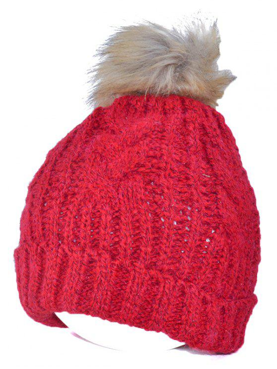 Winter-beiläufige Knitting Beanie Fuzzy-Ball-Hut - Rot