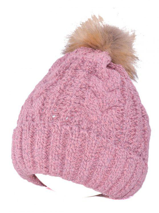online Winter Casual Knitting Beanie Fuzzy Ball Hat - PINK