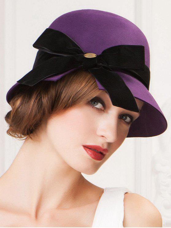 chic Velvet Bowknot Mesh Cloche Hat - VIOLET