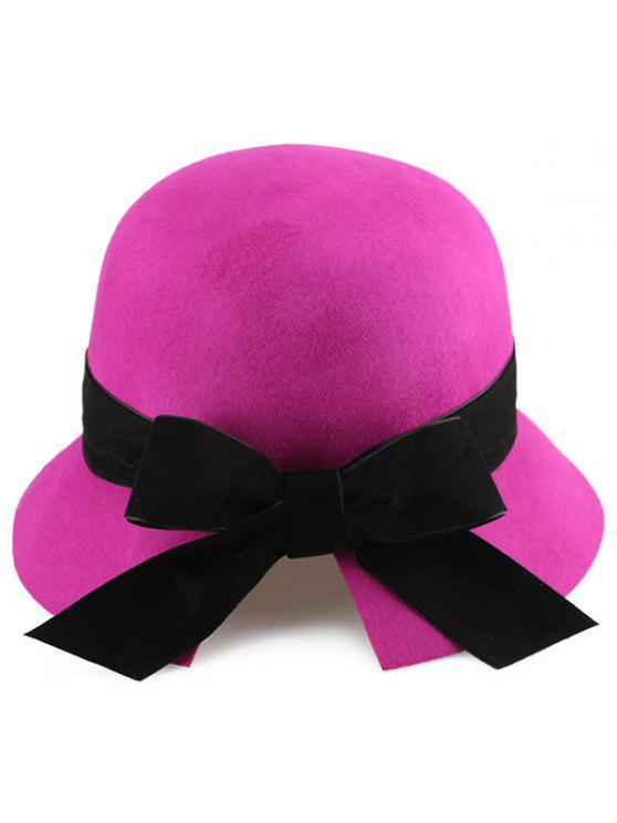 Velvet bowknot Mesh Chapeau cloche - Rose Rouge
