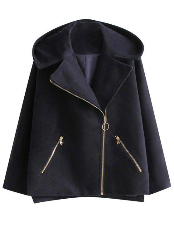 new Hooded Inclined Zipper Wool Blend Coat - PURPLISH BLUE M