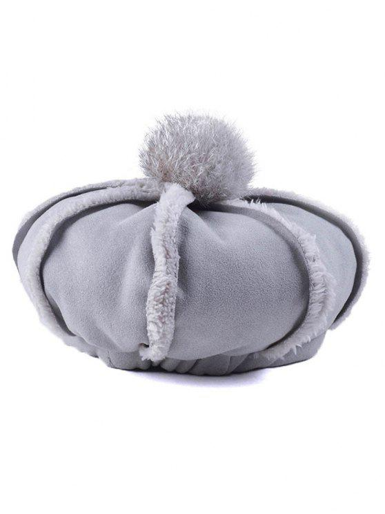 latest Warmer Fleece Octagonal Beret Hat - GRAY