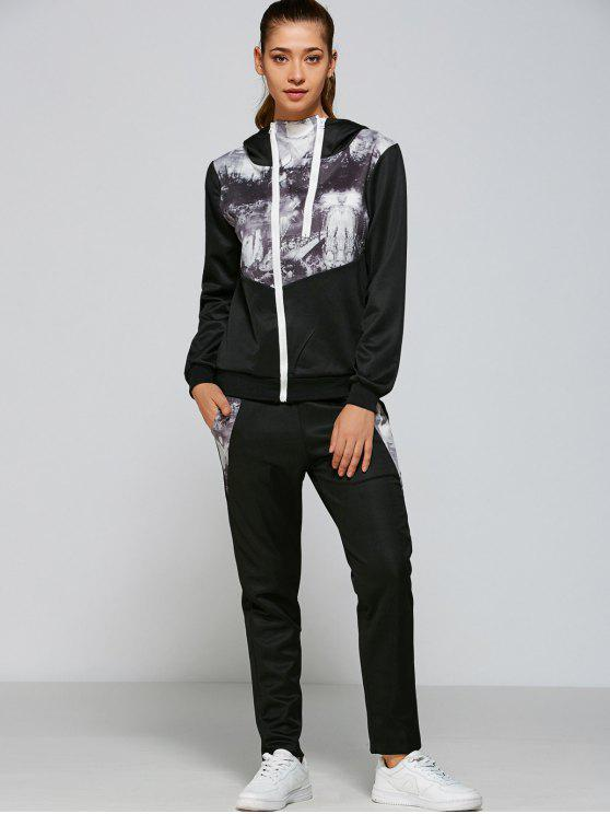Panelled Zip Up Hoodie and Pants - Nero M