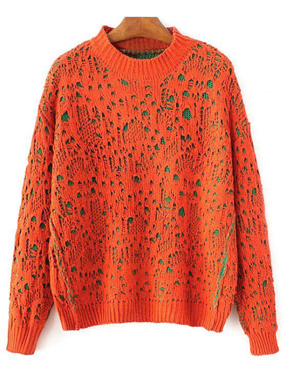 Jumper épais bicolore à col plat - Tangerine TAILLE MOYENNE