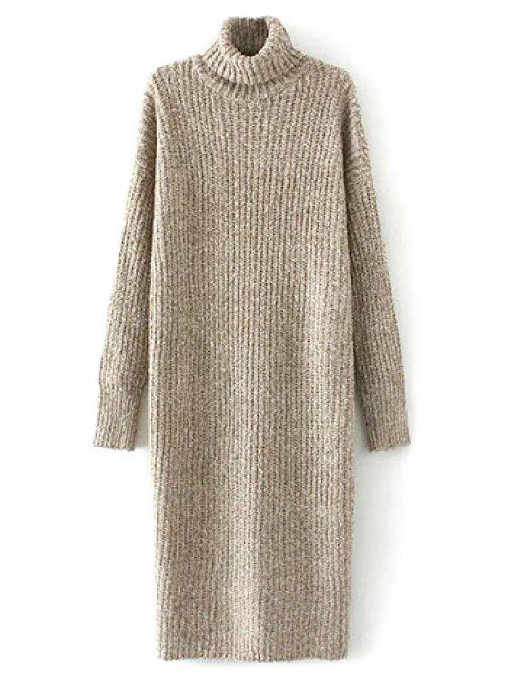 ladies Turtle Neck Tweed Long Sweater Dress - KHAKI ONE SIZE