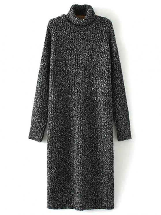 best Turtle Neck Tweed Long Sweater Dress - BLACK ONE SIZE