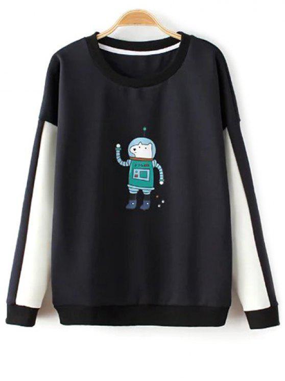 sale Color Block Astrodog Print Sweatshirt - BLACK ONE SIZE