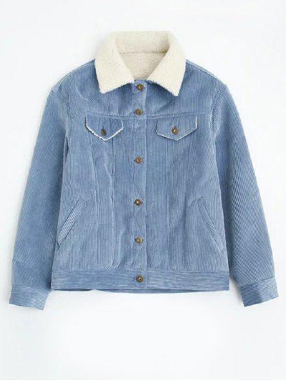 Cordero de pana de lana forrado de pieles - Azul Claro L