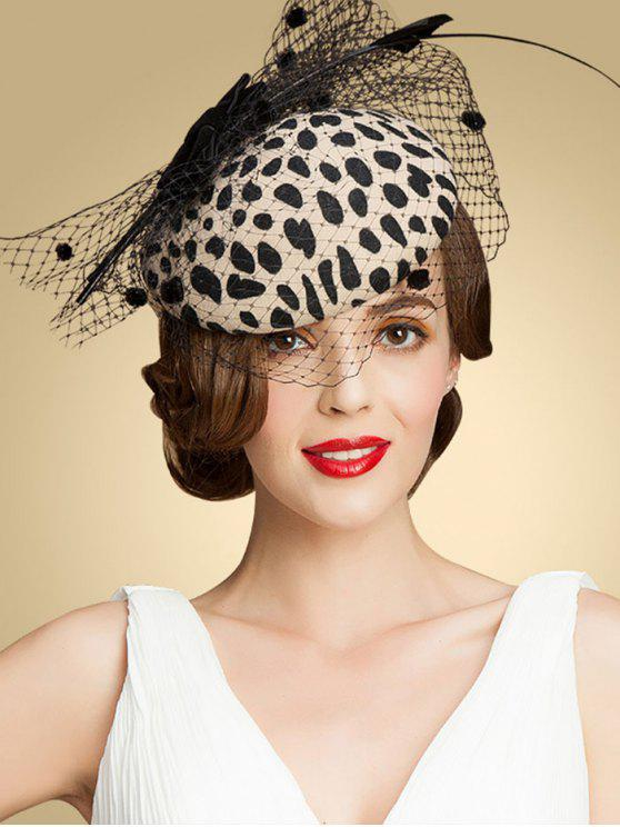 Leopard Imprimer Bow Mash Cocktail Hat - Abricot