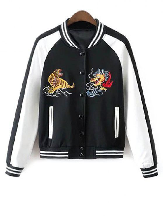 fashion Animal Embroidered Baseball Jacket - WHITE AND BLACK S