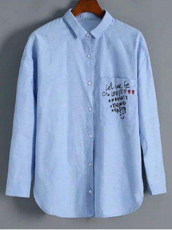 lady Button Up Graphic Shirt - LIGHT BLUE M