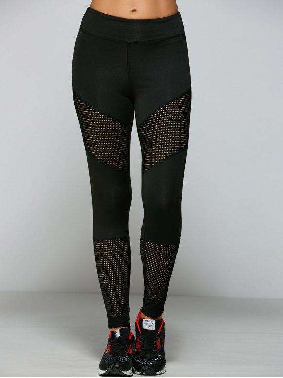 trendy Openwork Hole Leggings - BLACK S