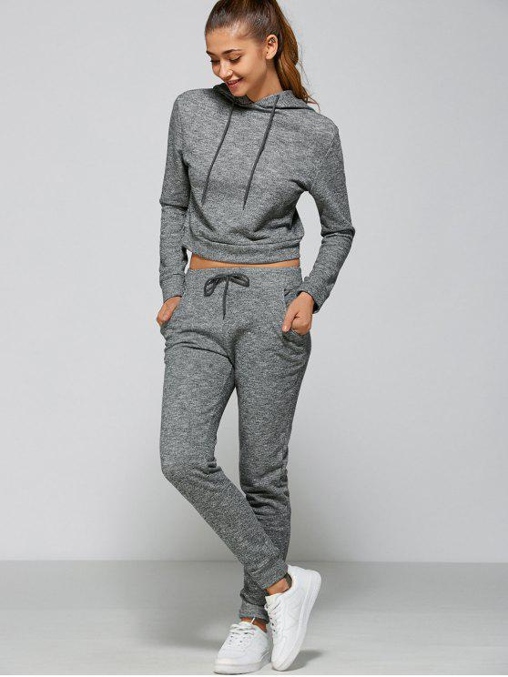 new Marled Cropped Hooded and Pants - GRAY L