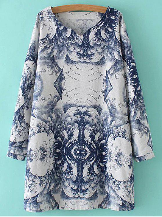 Mezcla de lino vestido de la pintura china - Azul y Blanco Única Talla