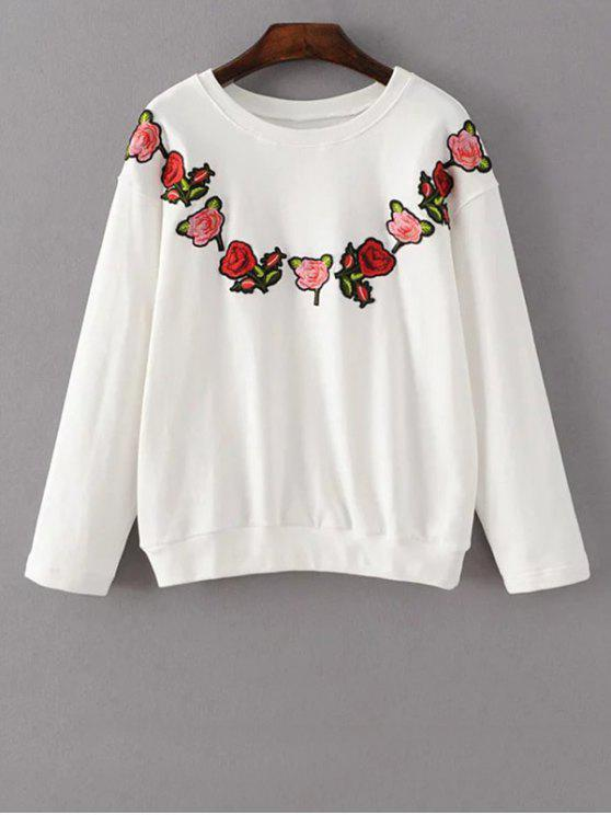 shops Floral Embroidered Crew Neck Sweatshirt - WHITE L