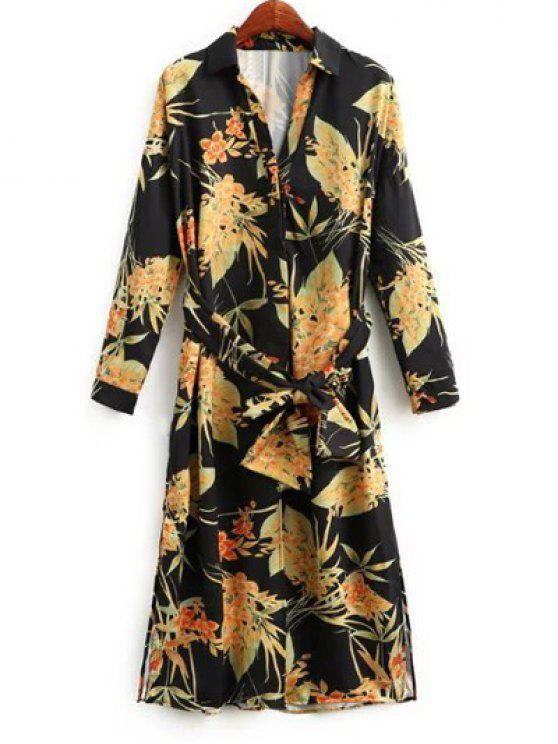 latest Side Slit Floral Belted Shirt Dress - FLORAL M