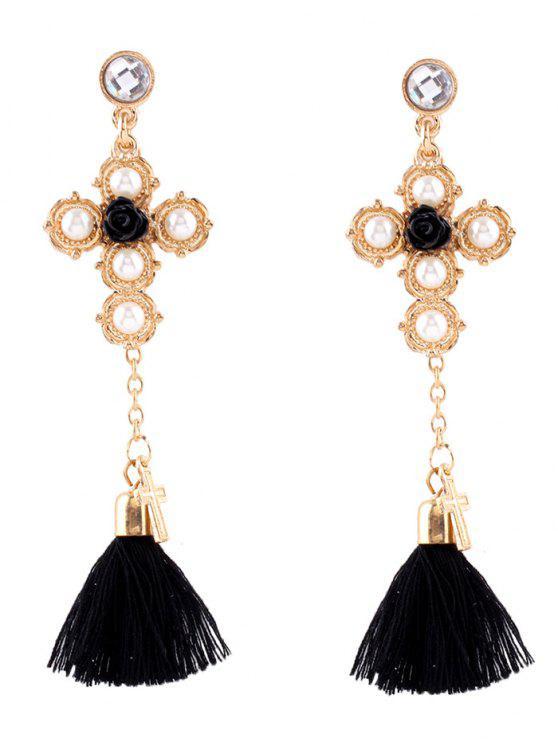 new Crucifix Faux Pearl Rose Tassel Earrings - GOLDEN