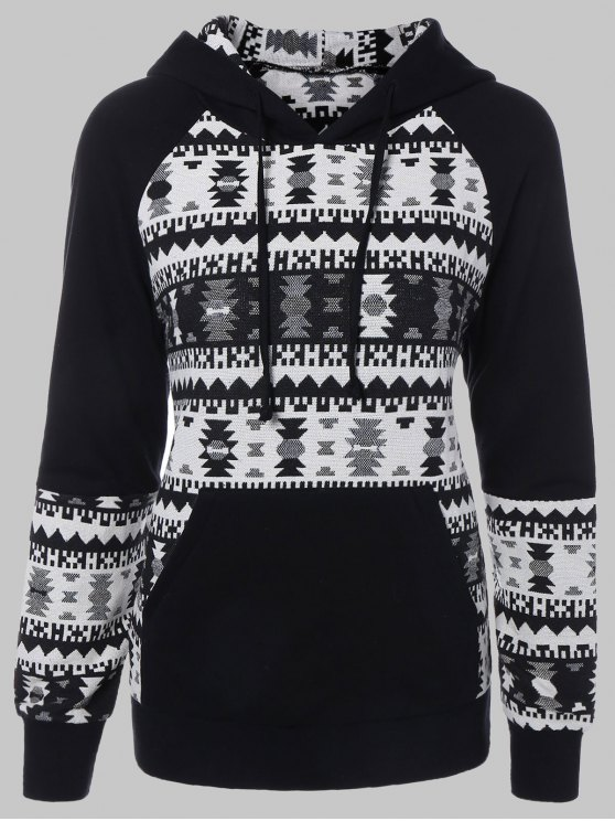 Plus Size Tribal Pullover con cappuccio - Nero 3XL