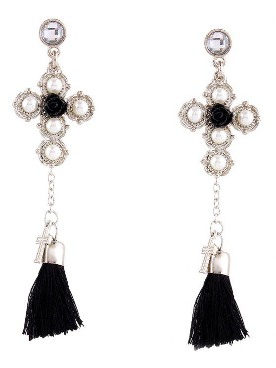 Crucifix Faux Pearl Rose Tassel Earrings - Plata