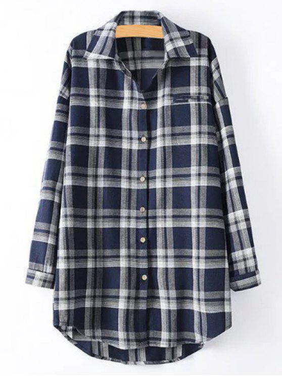 Plus Size Tartan Camicia - Blu Violaceo XL