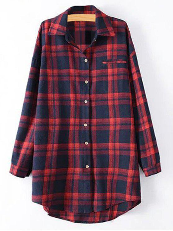 sale Plus Size Tartan Checkered Shirt - RED XL