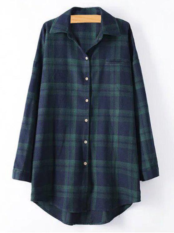 buy Plus Size Tartan Checkered Shirt - BLACKISH GREEN 3XL