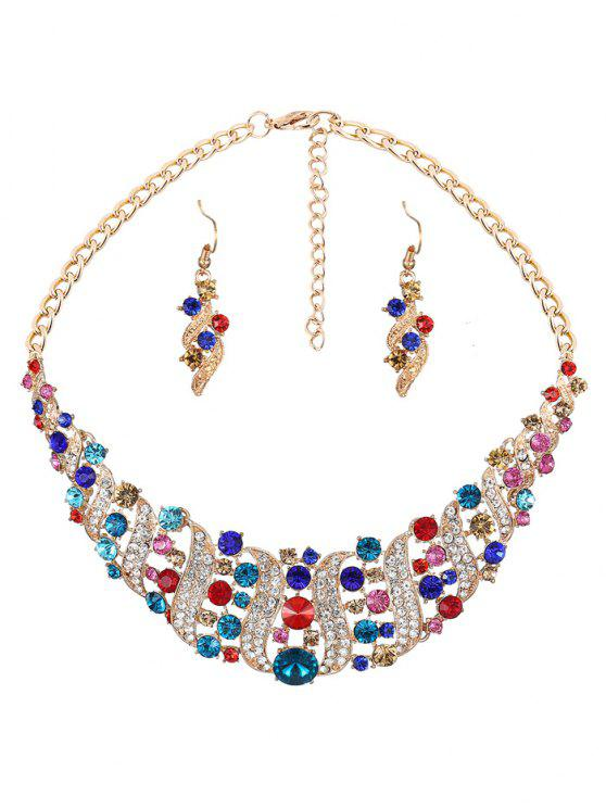 outfits Rhinestoned Hollow Out Jewelry Set - COLORMIX
