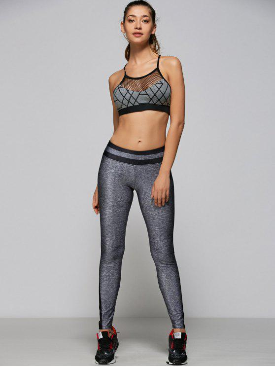 trendy Mesh Panel Strappy Sports Bra - GRAY M