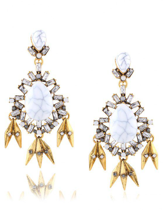 fashion Rhinestone Leaf Water Drop Layered Earrings - GOLDEN