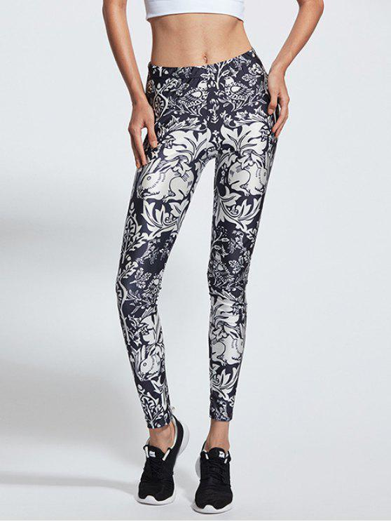 chic Stretchy Animal Printed Sports Pants - BLUE AND WHITE S