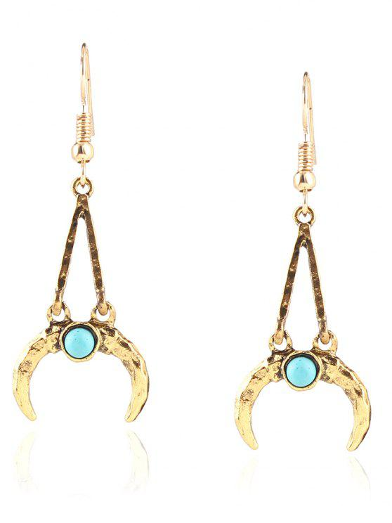 womens Bohemian Faux Turquoise Alloy Moon Earrings - GOLDEN