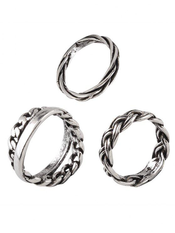 Vintage Braid Circle Alloy Rings - Plata Uno de tamaño