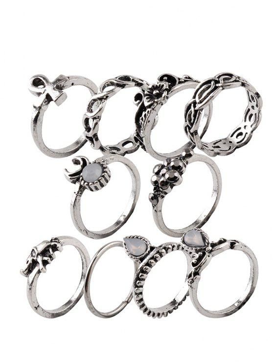 affordable Elephant Crucifix Flower Water Drop Rings - SILVER ONE-SIZE