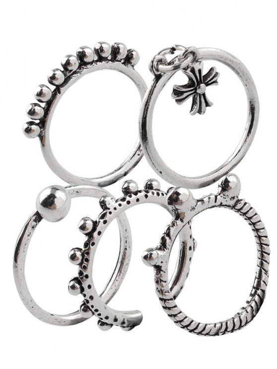 buy Vintage Alloy Beads Crucifix Cuff Rings - SILVER ONE-SIZE