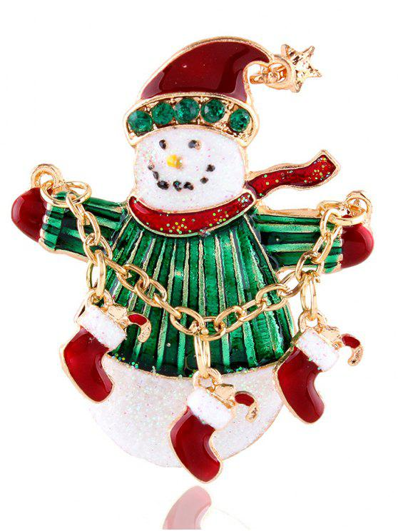 best Star Christmas Shoes Snowman Rhinestone Brooch - GOLDEN