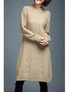 Long Sleeve Cable Knit Sweater Dress - Beige M