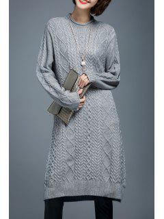 Long Sleeve Cable Knit Sweater Dress - Gray M