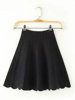 High Waisted Knitted Scalloped Skirt - Black
