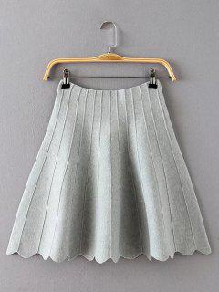 High Waisted Knitted Scalloped Skirt - Gray
